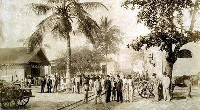Aspecto da área dos armazéns do porto de Paranaguá - 1870
